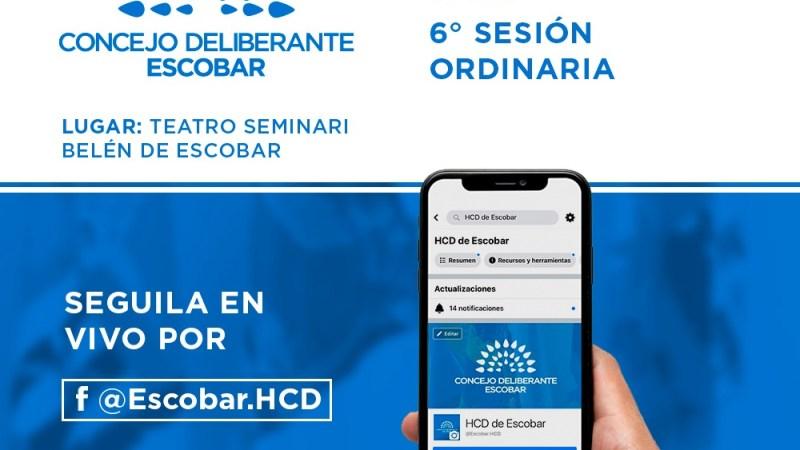 Escobar, el Concejo Deliberante realizará la sexta Sesión Ordinaria en el Teatro Seminari