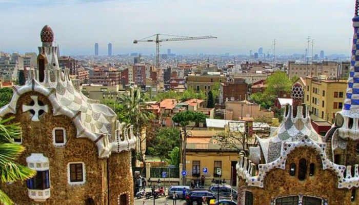views looking out over the city from parc guell barcelona