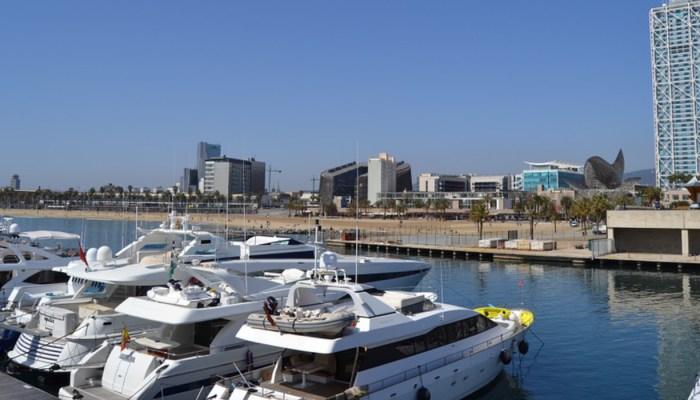 boats docked at the port olimpic marina