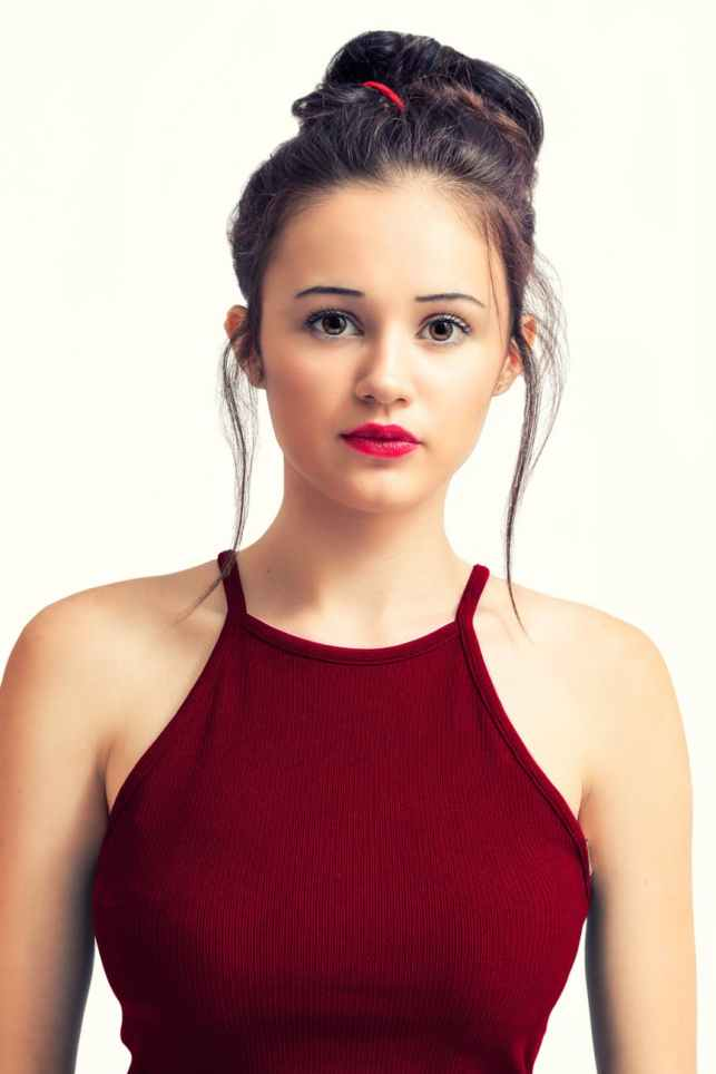 woman in red sleeveless top