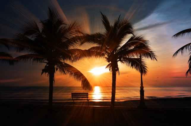beach beach sunset bench clouds