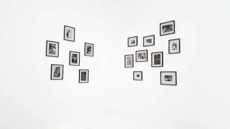 photo frames mounted on walls