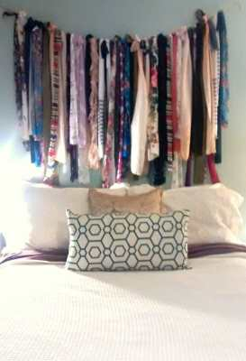 Strips of fabric and old scarves above our bed.