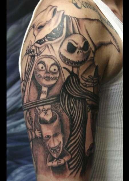 nightmare before christmas, tattoo, tattoos, nightmare before christmas tattoos