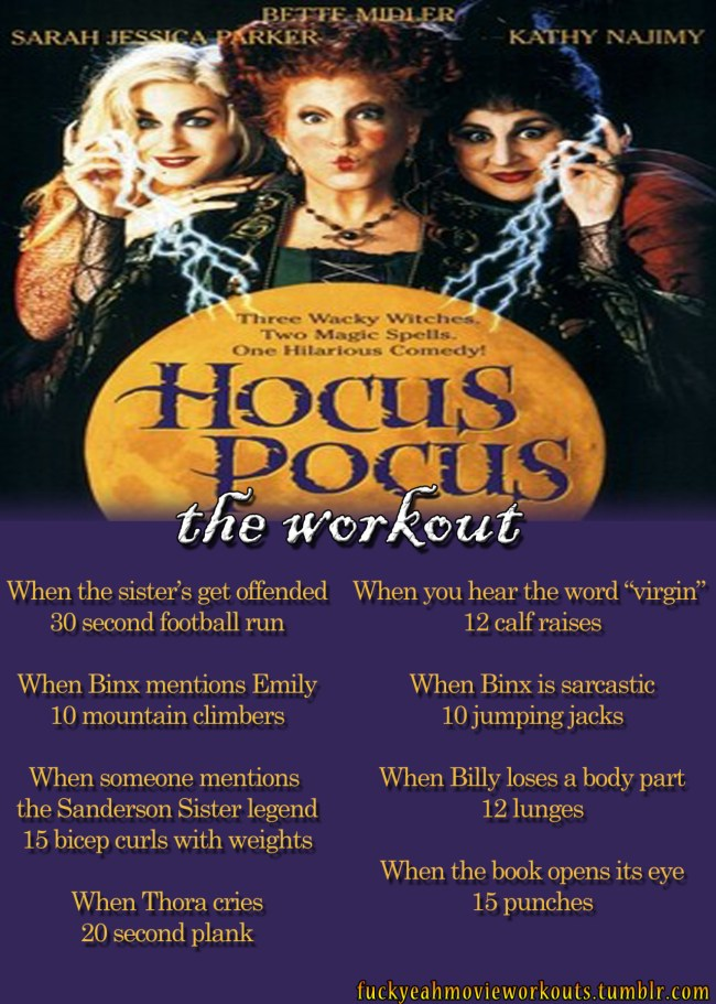 Hocus Pocus, Hocus Pocus movie, Hocus Pocus workout, Halloween, Halloween workout, workout ideas