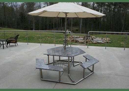 picnic table with unbrella