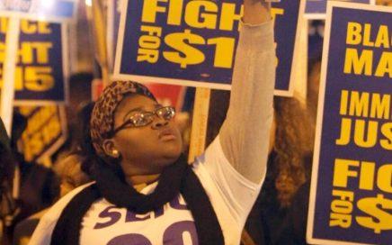 Manifestation lors du débat des primaires républicaines à Milwaukee en novembre 2015
