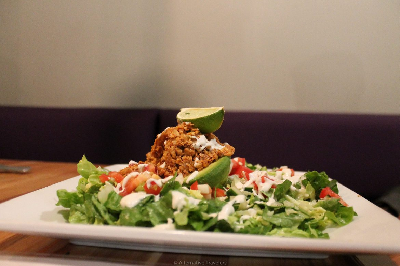 Walnut Salad at Zest, one of the vegan restaurants in Utah
