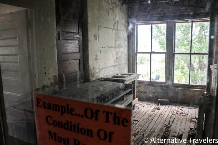 This room was left in its unrenovated condition to show what the hotel looked like in its abandoned state.