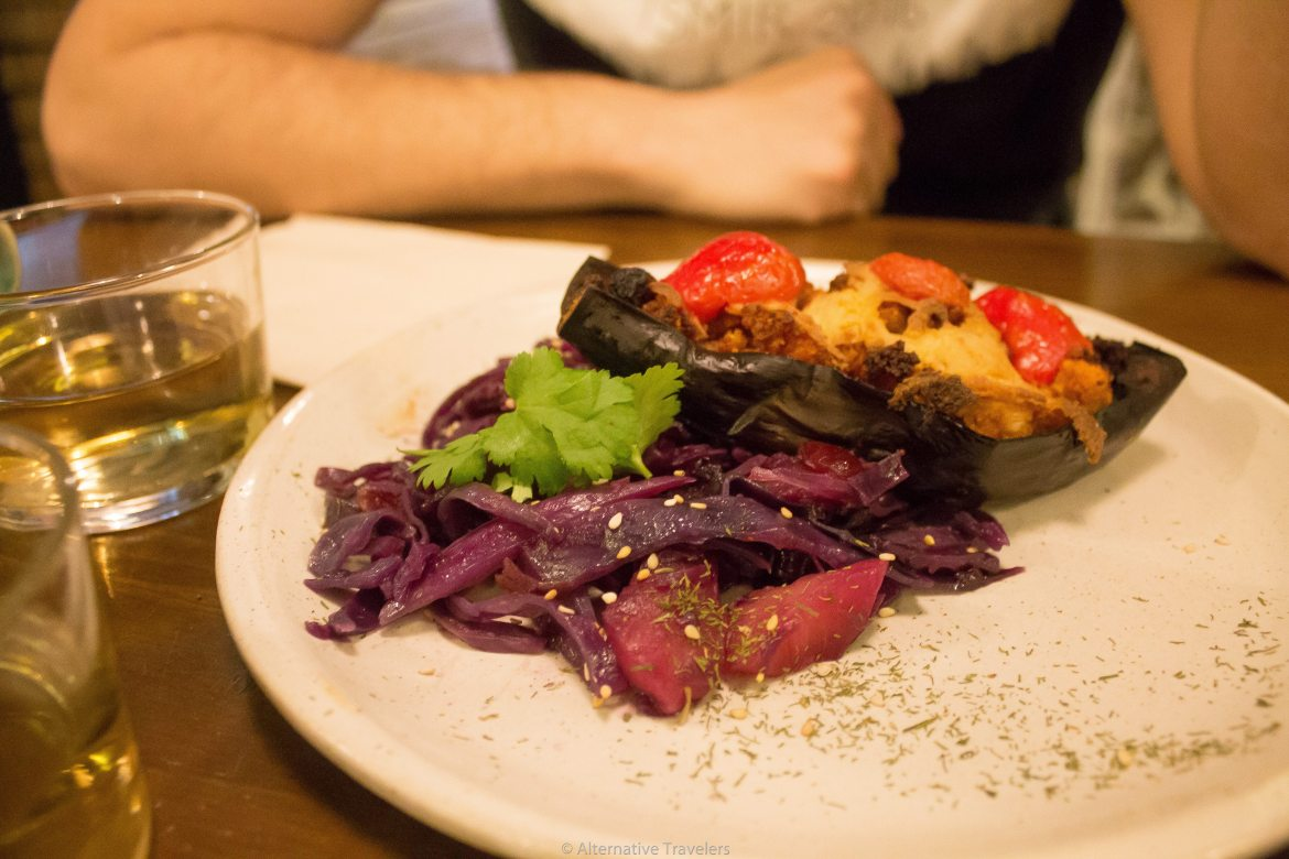 stuffed eggplant at La Encomienda in Madrid, Spain