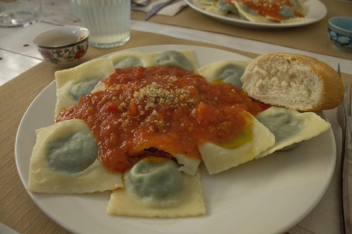 vegan spinach ravioli at Punto Vegano in Madrid, Spain