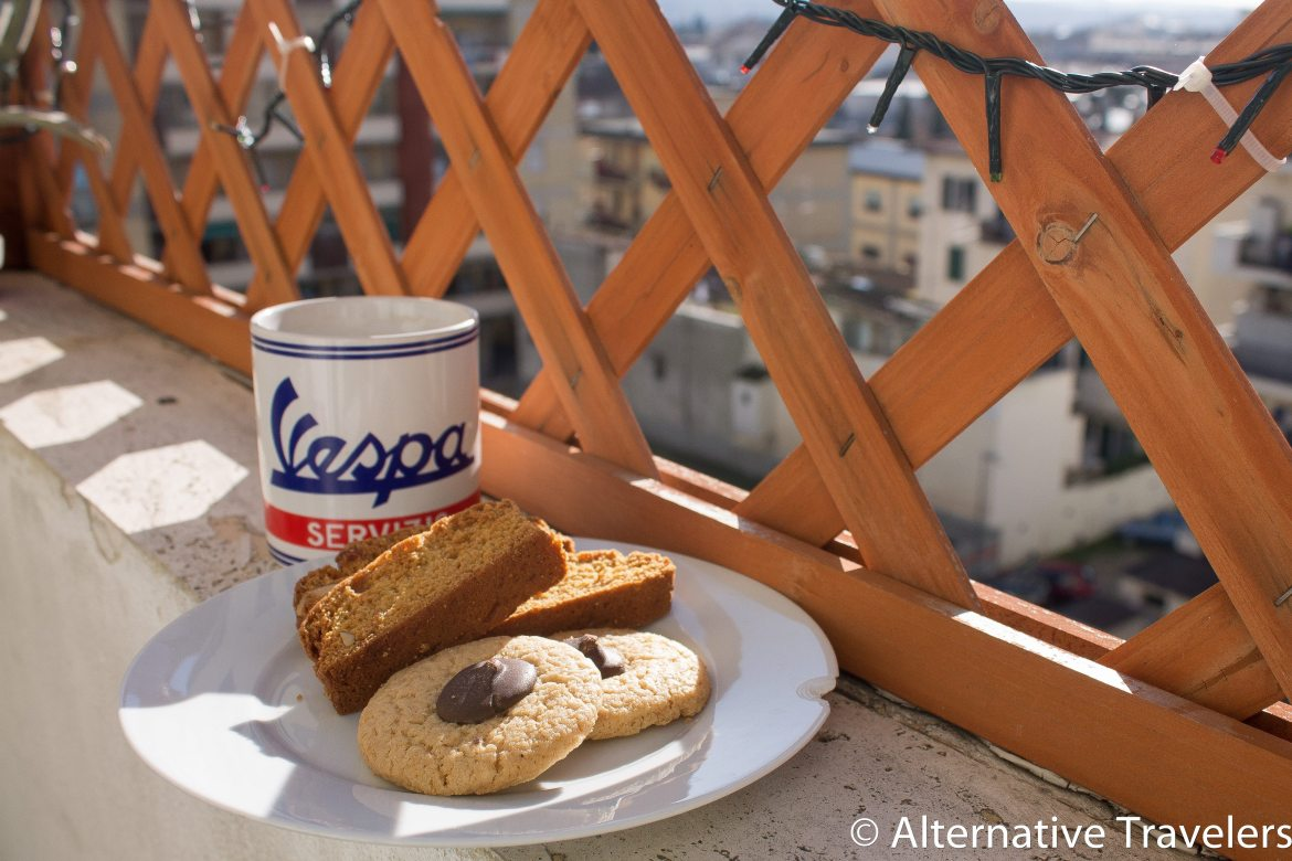 Vespa mug and cookies while housesitting in Florence, Italy