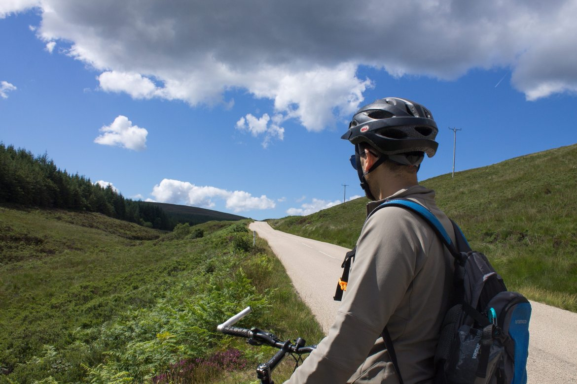 Biking up the hill on our Day Trip to Isle of Arran