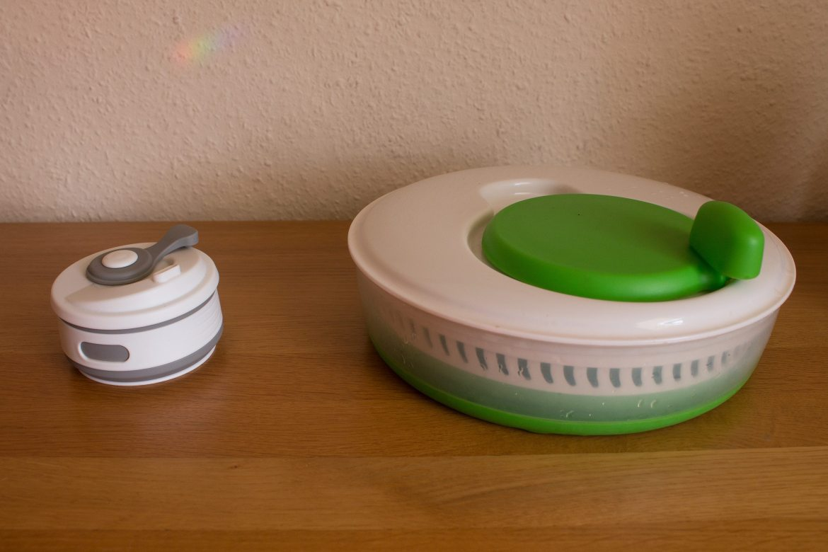 Collapsible Coffee Cup and Collapsible salad spinner - 2 items in our mobile travel kitchen