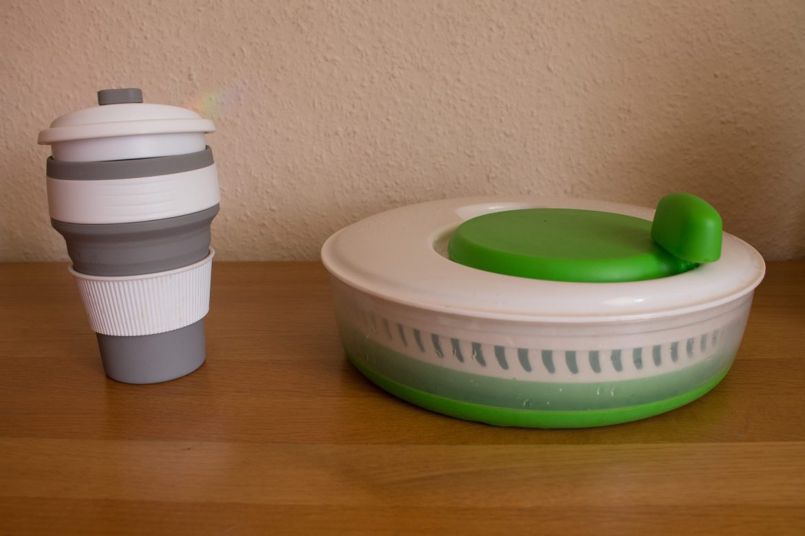 Collapsible Salad Spinner and Collapsible Coffee Cup