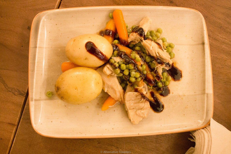 Deconstructed Spanish style stew with Huera mock meat at La Tia Carlota | AlternativeTravelers.com