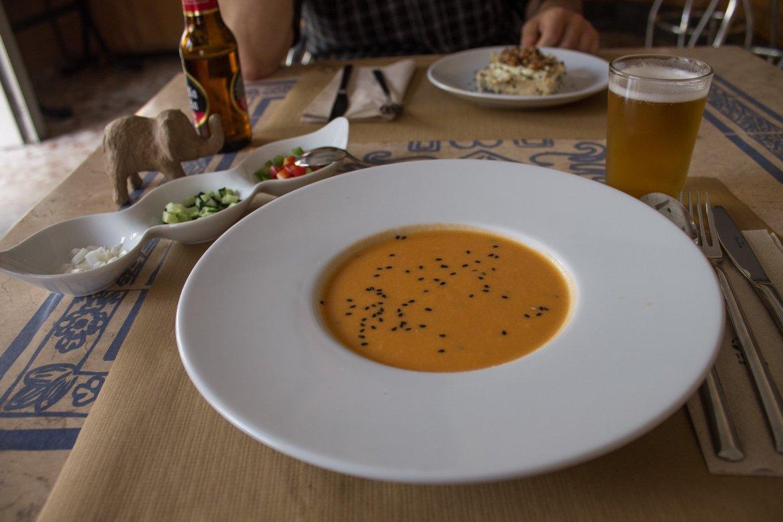 vegan gazpacho at Hakuna Matata Veggie in Madrid, Spain
