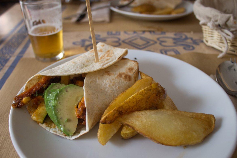 vegan burrito at Hakuna Matata Veggie in Madrid, Spain