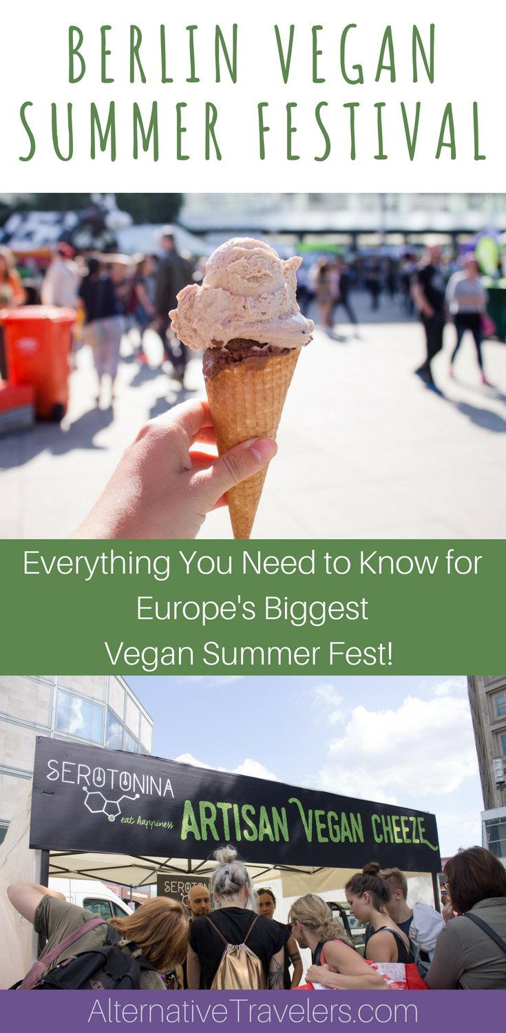 Visit the Berlin Vegan Summer Festival - the biggest vegan festival in Europe this summer! Eat vegan cheese, learn from vegan speakers, and grab yourself a vegan t-shirt! Learn more about what to expect at this FREE #vegan festival! #VeganTravel #Berlin #VeganBerlin #Europe