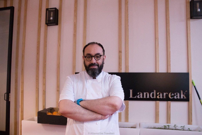Julian, the chef and owner of Landareak, a vegan restaurant in Madrid.