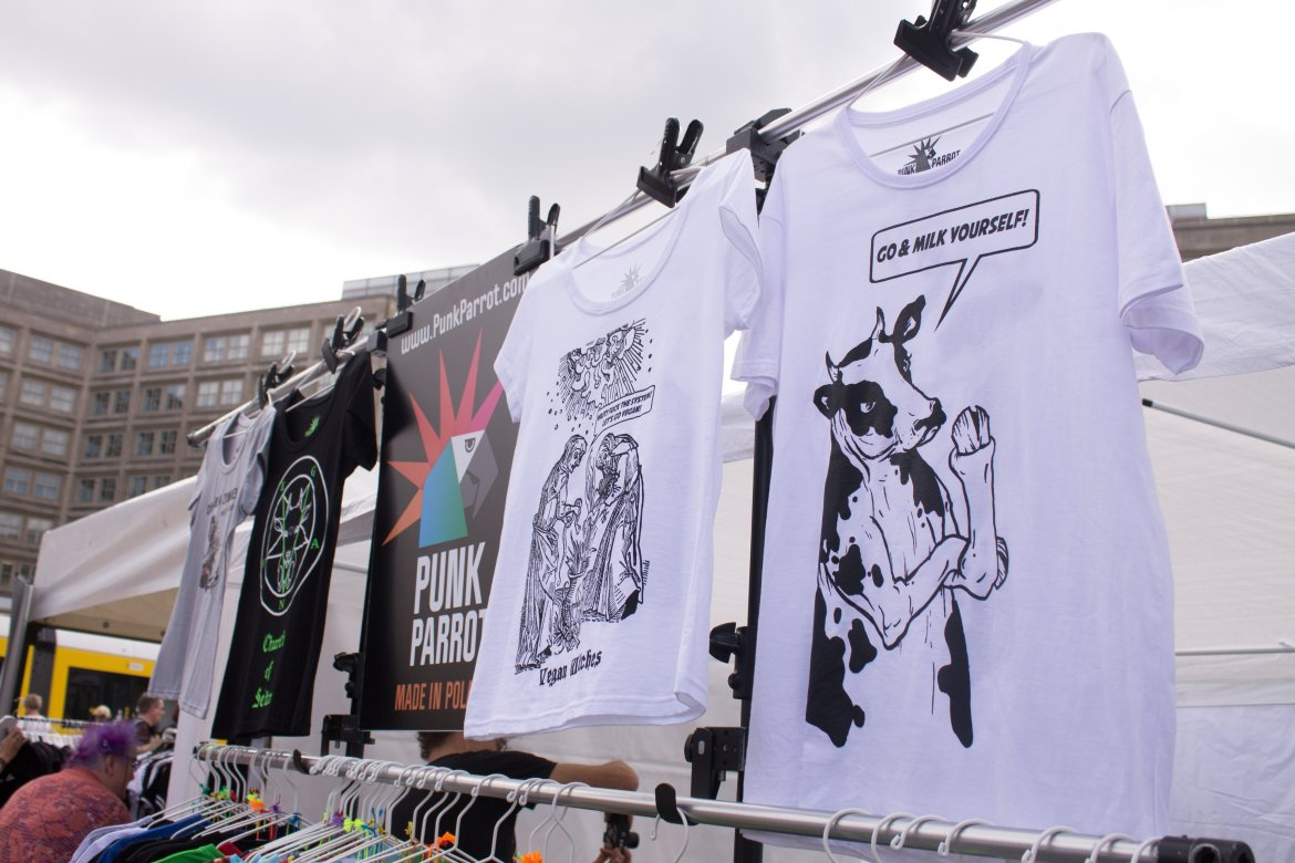 Vegan t-shirt stall at the Berlin Vegan Summer Festival