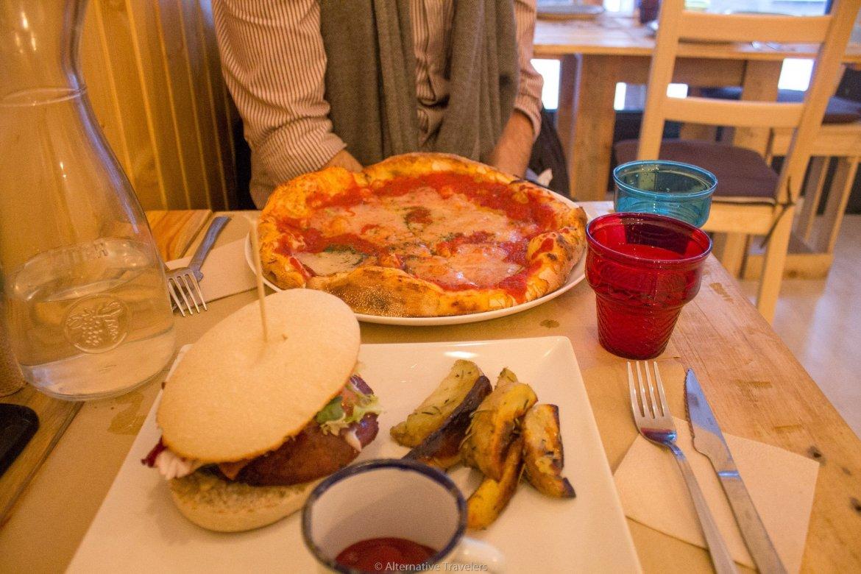 burger and pizza at Masa Madre Madrid Spain