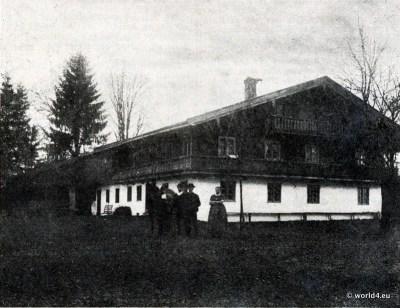 Haberfeldtreiben. Daxerhof um 1900. Oberbayerischer Brauch. Bayerisches Brauchtum, Sühnegericht.