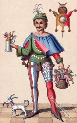 Till Eulenspiegel. Deutsches Mittelalter Kostüm. Mi-Parti. Narrenkostüm. Gaukler.