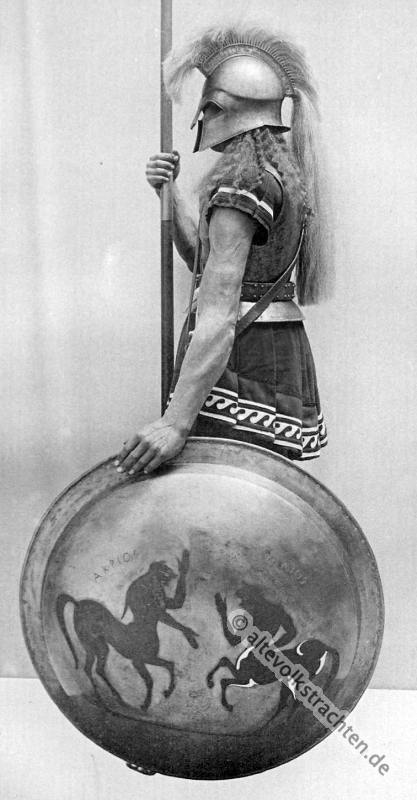 Hoplite, Griechischer Krieger, Antike, Gewandung, Modegeschichte, Kostümgeschichte, historische Kleidung, Karl Gimbel