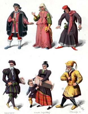 Schweiz, historische Kostüme, Mittelalter, Kleidung, Gewandungen, mittelalterliche Gewandung, Modegeschichte