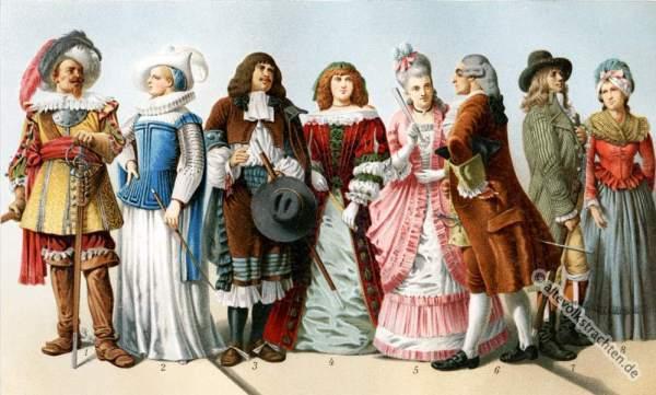 Barock, Rokoko, Kleider, Modegeschichte, Kostümgeschichte, historische Kleidung,