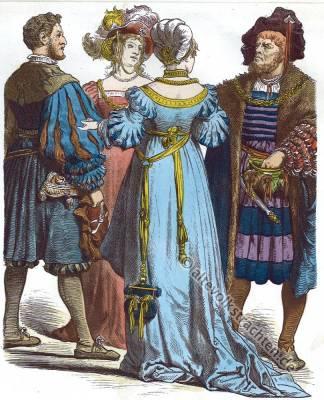 Deutsche Bürger Trachten, Münchener Bilderbogen, 16. Jahrhundert, Mode, Renaissance, Kostümgeschichte