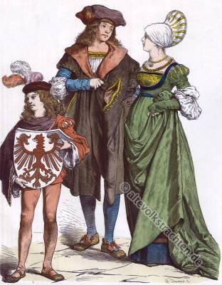 Deutsche Bürger Trachten. Mode im 16. Jahrhundert, Renaissance, Kostümgeschichte