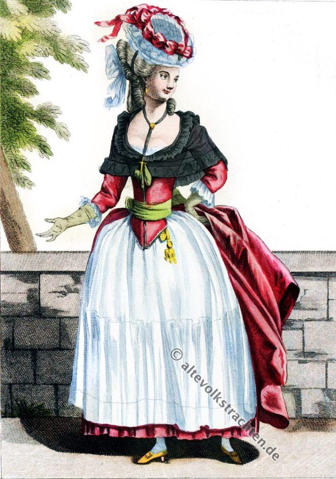 Robe, anglaise, Rokoko, Modegeschichte, Kostümgeschichte, 18. Jahrhundert