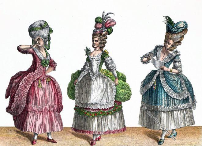 Robe, Polonaise, Piémontaise, Circassienne, Balltoilette, grande coiffure, Rokoko, Modegeschichte, 18. Jahrhundert, Kostümgeschichte, Hefner-Alteneck