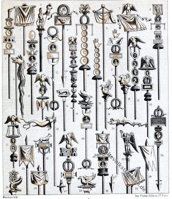 Militär, Antike, Rom, Römer, römisch, Feldzeichen, Fahnen, Auguste Racinet, Kostüm