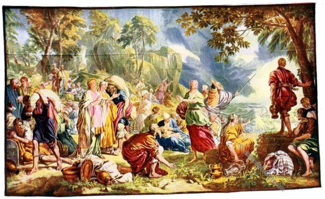 Gobelin, Rokoko, Barock, Pharao, Untergang, Exodus, Kunsthistorie, Gobelinsammlung, Gobelins, 18. Jahrhundert,