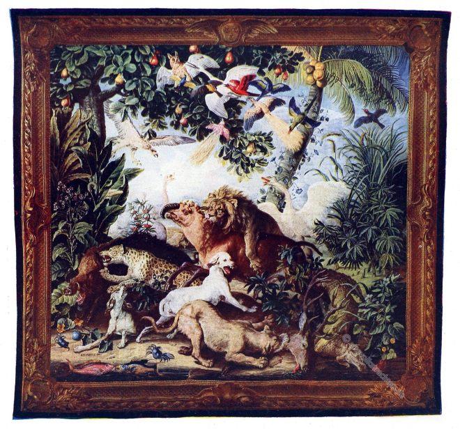 Gobelin, Barock, Kampf, Tierwelt, Kunsthistorie, Gobelinsammlung, Gobelins, 18. Jahrhundert,
