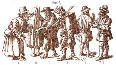 Mittelalter, Handwerker, Bürger, Kleidung, Trachten, Kostüm, Jude, Friedrich Hottenroth
