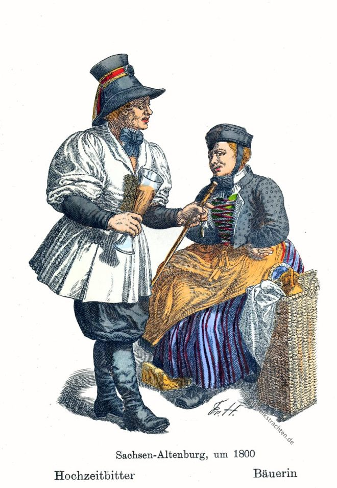 Hochzeitbitter, Bäuerin, Bauer, Sachsen-Altenburg, Thüringen, Trachten, Kostüme, Friedrich Hottenroth