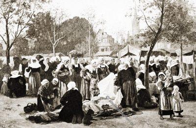 Stoffmarkt, Marché, Chiffons, Bretagne, Brittany, Trachten, Sabine Baring-Gould,