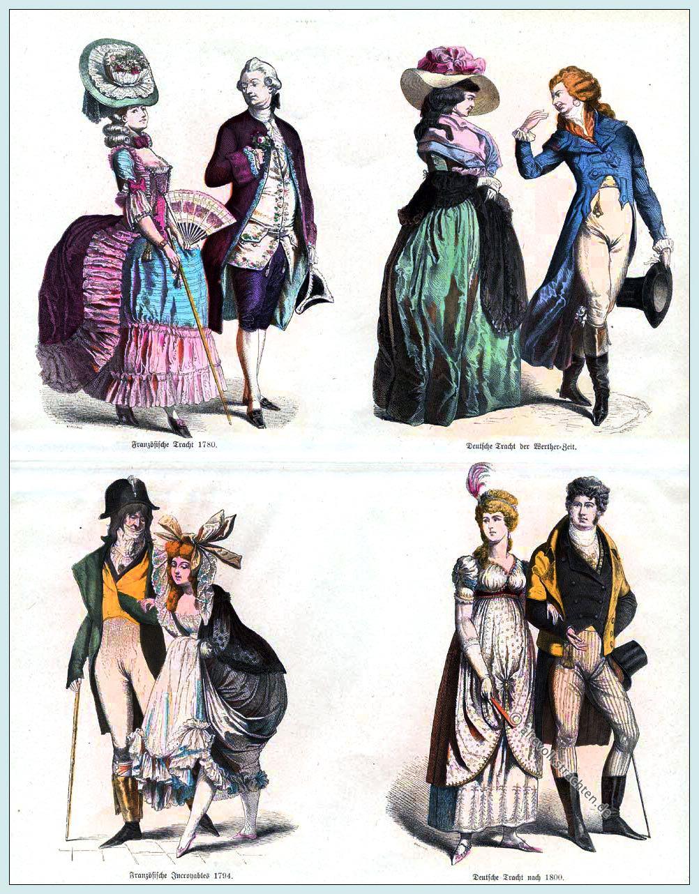 mode des directoire, empire, regency. 1780-1810.