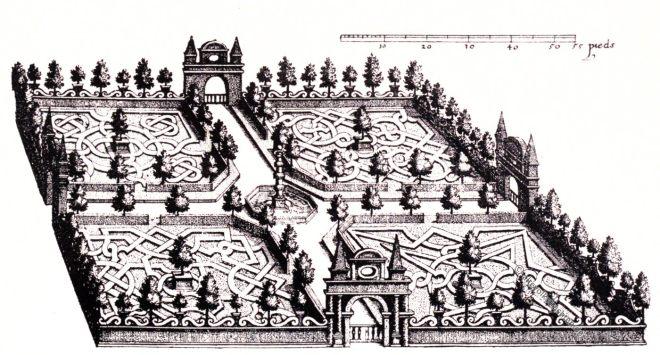 Heidelberg, Hortus Palatinus, Knotenparterre, Gartenplan, Gartenkunst, Kupferstich, Barock, Caus,