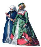 Bürgerliche Frau in Trauer und Braut aus Marburg.