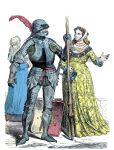 Deutscher Ritter und Edelfrau um 1450.