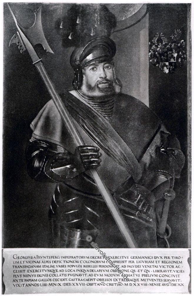 Georg von Frundsberg. Soldat und Landsknechtsführer im 16. Jahrhundert. Renaissance.
