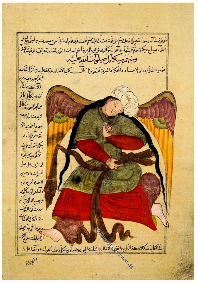 al-Qazwini, Persien, Miniatur, Geflügeltes Genie,