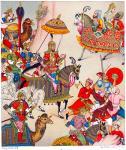 Großmogul Babur. Indische Kriegstrachten des 16. Jahrhunderts.