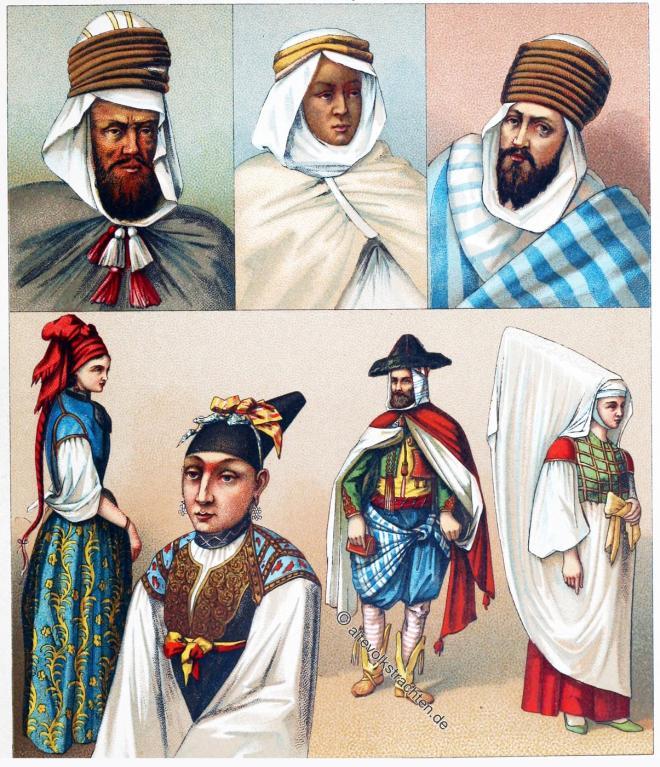 Algier, Algerien, Haik, Trachten, Kleidung, Kostüme, Maghreb, Jüdinnen. Berber,