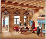 Das innere eines russischen Wohnhauses. Der Haustypus Izba.